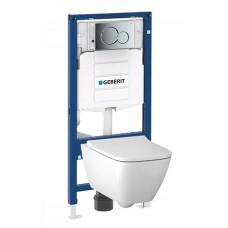Комплект Geberit Smyle подвесной унитаз + инсталляция + кнопка + сиденье, 500.300.21.S
