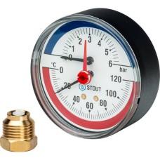 Термоманометр аксиальный в комплекте с автоматическим запорным клапаном Ø80 Stout, SIM-0005-800615