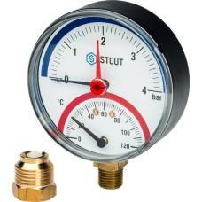 Термоманометр радиальный в комплекте с автоматическим запорным клапаном Ø80 Stout, SIM-0006-800415