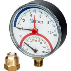 Термоманометр радиальный в комплекте с автоматическим запорным клапаном Ø80 Stout, SIM-0006-801015